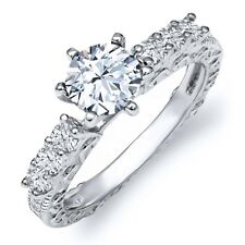 1.30 Ct Round Hearts And Arrows White Created Sapphire 925 Silver Ring