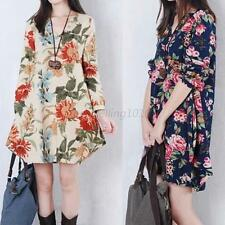 Women Retro Floral Linen Long Sleeve V-Neck Loose Dress Pregnant Maternity Dress