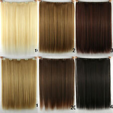 Women Long Straight Clip in Synthetic Human Hair Extensions 5 Clip 46cm 18""