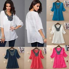 Fashion Women Loose Blouse Embroidery Half Sleeve Tee Shirt Casual Top Plus Size