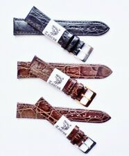Taurus Genuine Calf Leather Croco Grain Watch Band Strap Black Brown 18mm 20mm