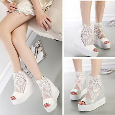 Women's Shoes Casual Sneaker Platform Wedge Mesh Ankle Single Shoes New Lace