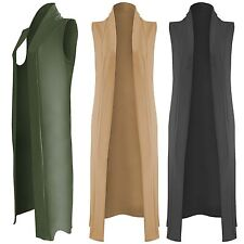 NEW LADIES LONG DUSTER JACKET WOMENS SLEEVELESS OPEN FRONT WAISTCOAT  LOOK TOP