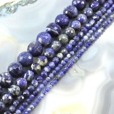"AA+ Natural Blue Sodalite Faceted Round Beads 15"" 3,4,6,9,12mm pick your size"
