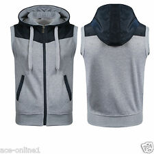 Mens Boys Sleeveless Gilet Hoodies Hooded sweatshirt Jumper Zipped Hoody