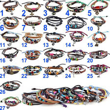 Genuine Leather Ethnic Tribal Hand-woven Hemp Pendant Bracelet Wristband Link