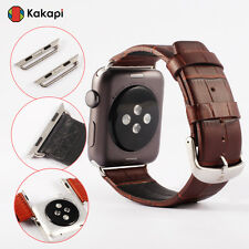 Genuine Leather Watch Band Strap Buckle Belt Made For Apple Watch iwatch+Adapter