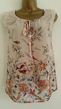 New Ex ZARA Bird & Floral Print Nude Peach Orange Chiffon Tunic Top Blouse 8-18