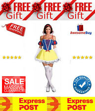 New Ladies Snow White Short Dress Fairytale Princess Fancy Halloween Costume