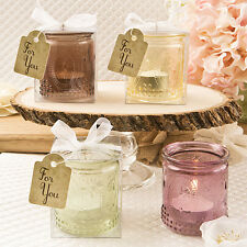 1 Fleur de Lis Wedding Favor Candle Votive Four Colors Gift Vintage Glass Party