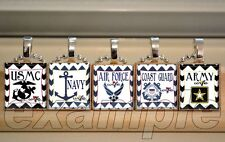 Army Navy Air Force Marines Coast Guard WIFE Scrabble Tile Pendant Necklace Gift