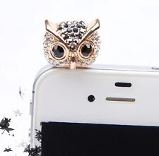 Rhinestone Owl Anti Dust Plugy Earphone Jack Stopper Cap Phone Dustproof Plug
