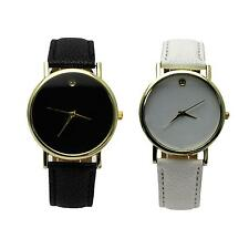 Round Dial Watch Casual Quartz Battery Time Pointer PU Leather Band Wristwatch