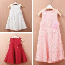 Baby Girl Kids Princess Tutu Dress Flower Lace Sleeveless Party Skirt Dress 2-6Y