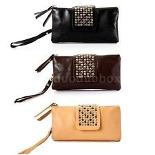Women Synthetic Leather Rivet Handbag Clutch Purse Wallet Evening Bag Retro
