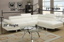 Chic Contemporary Sectional Sofa Couch Leather Modern Black & Cream White Color