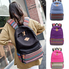 Unisex Canvas Backpack Bags Travel Hiking Rucksack School Bookbag For Students