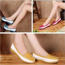 Women Ladies Embossing Loafer Flat Round Toe Slip-On Shoes Faux Leather Leisure