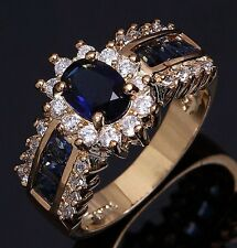 Fashion Size 6,7,8,9,10,11,12 Blue Sapphire 10KT Gold Filled Wedding Womans Ring