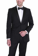 Alfani RED Slim Fit Solid Black Wool Tuxedo Tux Suit