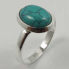 Fashion Ring Choose Size 925 Sterling Silver Jewelry TURQUOISE (S) Oval Gemstone
