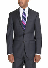 DKNY Skinny Slim Fit Gray Mini Check Plaid Two Button Wool Suit