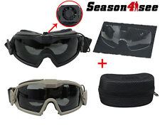 1X Tactical Airsoft Eye Protective Regulator Goggles Sun Glasses W/Fan & 2 Lens