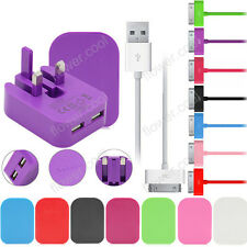 2A Mains Charger Fold Plug + Data Cable For Genuine Apple iPhone 4 4S iPad iPod