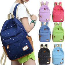 Women Double-Shoulder Bags Girls Dots Canvas Schoolbag Trendy Students Backpacks