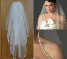 2 T White/Ivory Fingertip Length Rhinestone Edge Wedding Bridal Veil with Comb