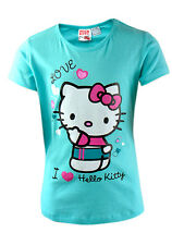 Hello Kitty T-Shirt girls short sleeved turquoise various sizes 100% Cotton