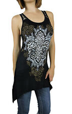 New Vocal Women Shark Bite Lace Tunic Tank Scoop Neck Crystal Fleur in Blk/Wht
