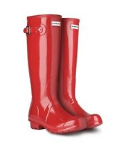 HUNTER ORIGINAL TALL GLOSS MILITARY RED RAIN BOOTS WOMEN WFT1000RGL
