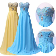 USA Sexy Yellow Long Wedding Bridesmaid dress Evening Party Formal Prom Dresses