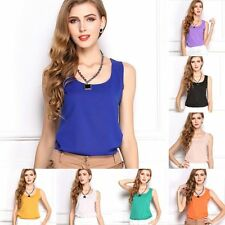 Womens Fashion Summer Casual Chiffon Vest Tops Tank Sleeveless Shirt Blouse