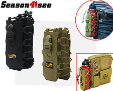 1X Looyoo 0.5-2L 1050D Molle Canteen Cover Water Bottle Pouch Holder Black/Tan