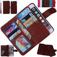 Premium PU Leather Card Slot Flip Handbag Wallet Case For iPhone Samsung HTC LG