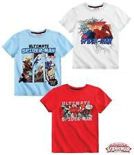 New Boys Spiderman Short Sleeve Spider Man Top T-Shirt Age 4-10 Years