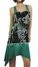 Vocal Women Shark Bite Tank Dress Scoop Neck Tie Dye Crystal Fleur in Teal Black