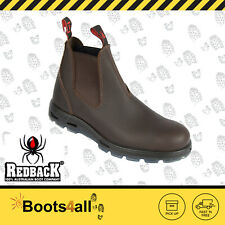 New Redback Work Boots UNPU Great Barrier Water Resistant Puma Brown Slip On