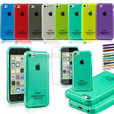 NEW Clear JELLY GEL Plain TPU Skin Case Cover for Apple iPhone 5C +Stylus +Film