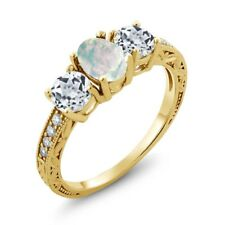 1.75 Ct Oval White Simulated Opal White Topaz 18K Yellow Gold Plated Silver Ring