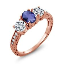 1.77 Ct Oval Checkerboard Blue Iolite White Topaz 18K Rose Gold Ring