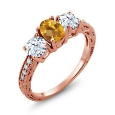 2.32 Ct Oval Checkerboard Yellow Citrine 14K Rose Gold Ring