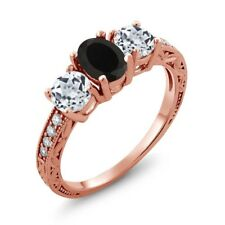 1.92 Ct Oval Black Onyx White Topaz 18K Rose Gold Plated Silver Ring