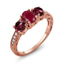2.34 Ct Oval Red Ruby Red Rhodolite Garnet 18K Rose Gold Plated Silver Ring