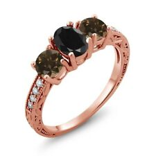 2.11 Ct Oval Black Sapphire Brown Smoky Quartz 18K Rose Gold Plated Silver Ring