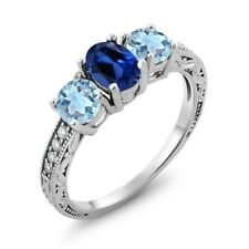 1.82 Ct Oval Blue Simulated Sapphire Sky Blue Aquamarine 18K White Gold Ring