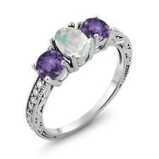 1.65 Ct Oval Cabochon White Opal Purple Amethyst 18K White Gold Ring