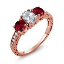 2.27 Ct Oval White Topaz Red Created Ruby 18K Rose Gold Plated Silver Ring